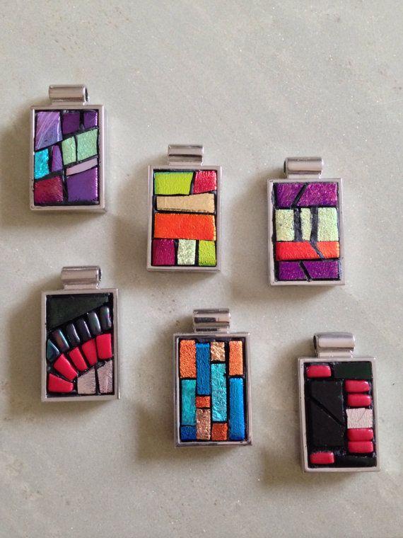 Modern Geometric Wearable Mosaic Art Pendant by HamptonMosaics