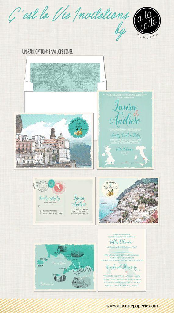 Destination Wedding Invitation Amalfi Coast Positano Atrani Soro Italy Suite Products Pinterest Invitations