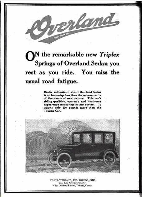 1920 Willys Overland Automobile Advertisement Automobile