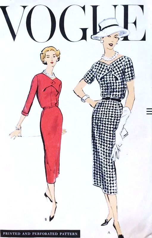 1950s CLASSY Slim Dress Pattern VOGUE 9137 Day or After 5 Dress Bust ...