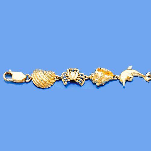 Amazoncom 14k Gold Nautical Charm Bracelet Multi Sea Life High
