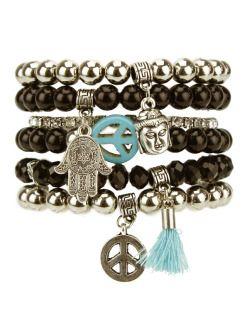 Kit 6 pulseiras prateadas, turquesa e pretas Buddha