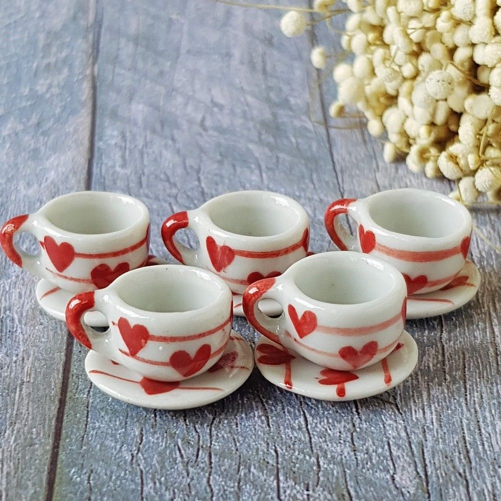 10 Green Mini Ceramic Coffee Tea Cup Saucers Dollhouse Miniatures Wholesale Lot