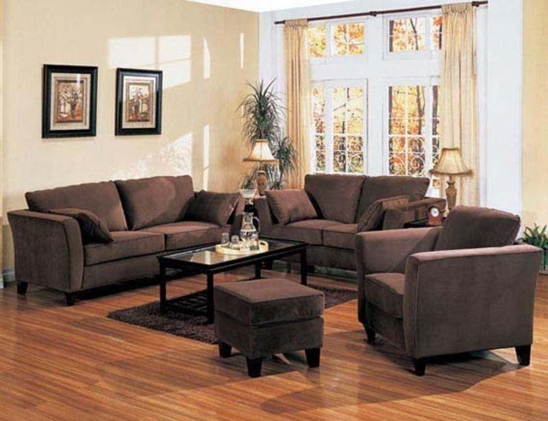 brown sofas |  retro contemporary style design living room
