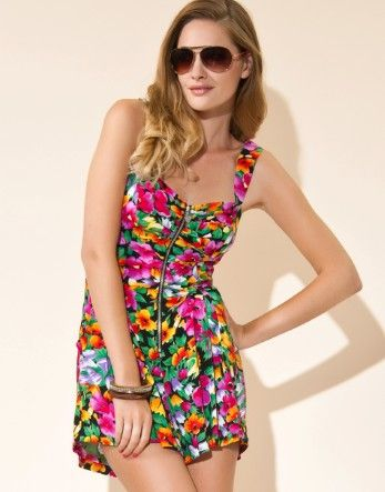 6c9c96f7cd6 Lipsy Zip Front Floral Playsuit