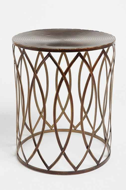 Concentric Metal Side Table   Urban Outfitters Bronze Finish