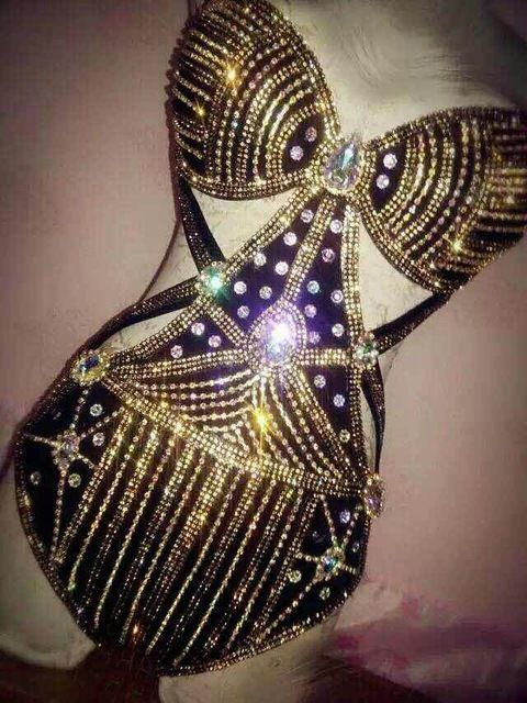 Sexy Crystal Rhinestone Bodysuit Celebrity Performance Wear Bodysuit Night  Dance Wear Women Singer Stage Costume Outfit 68f62ae2b4d0
