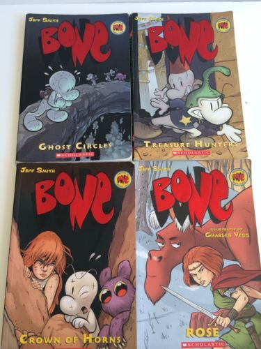 Lot-of-4-Bone-Books-by-Jeff-Smith-Vol-7-8-9-Rose-English-ghost-circles