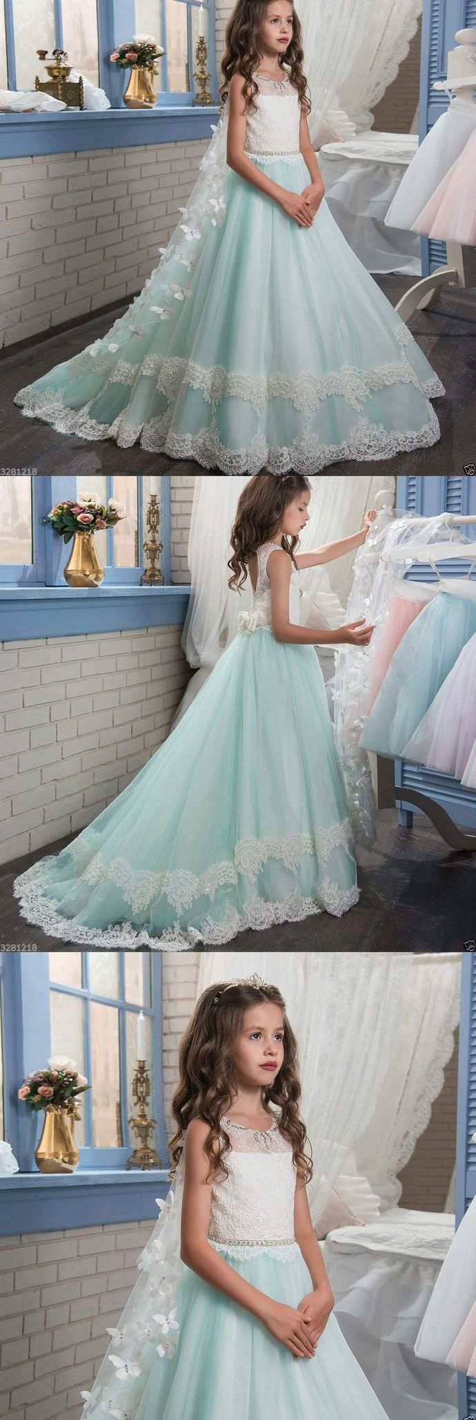 Blue flower girl dresses princess pageant first communion dresses