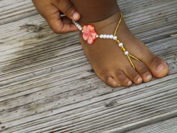Baby Barefoot Sandals Coral Pearl Wedding Jewelry Flower Girl