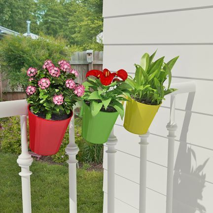 buy shaz living 3 pcs balcony railing planter online in india fabfurnish - Railing Planters