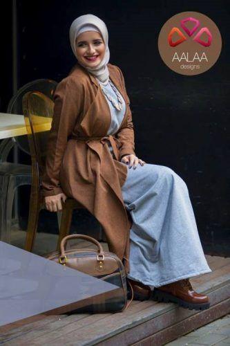 tan-waterfall-cardigan-with-hijab-style- Aalaa designs winter 2017 http://www.justtrendygirls.com/aalaa-designs-winter-2017/