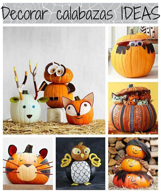 Ideas para decorar calabazas halloween con ni os ideas for kids party halloween halloween - Decoracion calabazas halloween ...