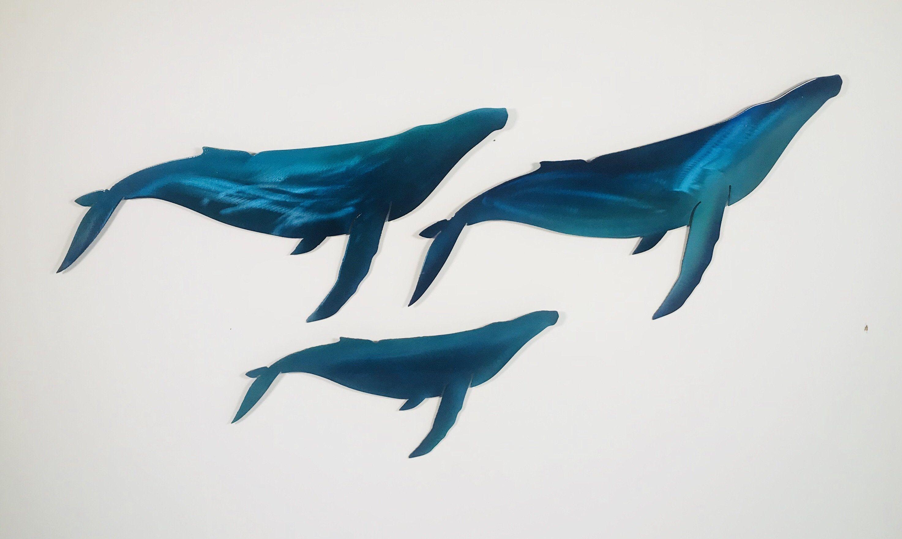 Blue whale family set of metal wall art metal wall art metal