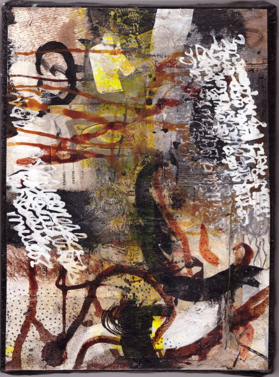 "Smaller (6""x8"") Journal Painting using asemic writine. Abstract original mixed…"
