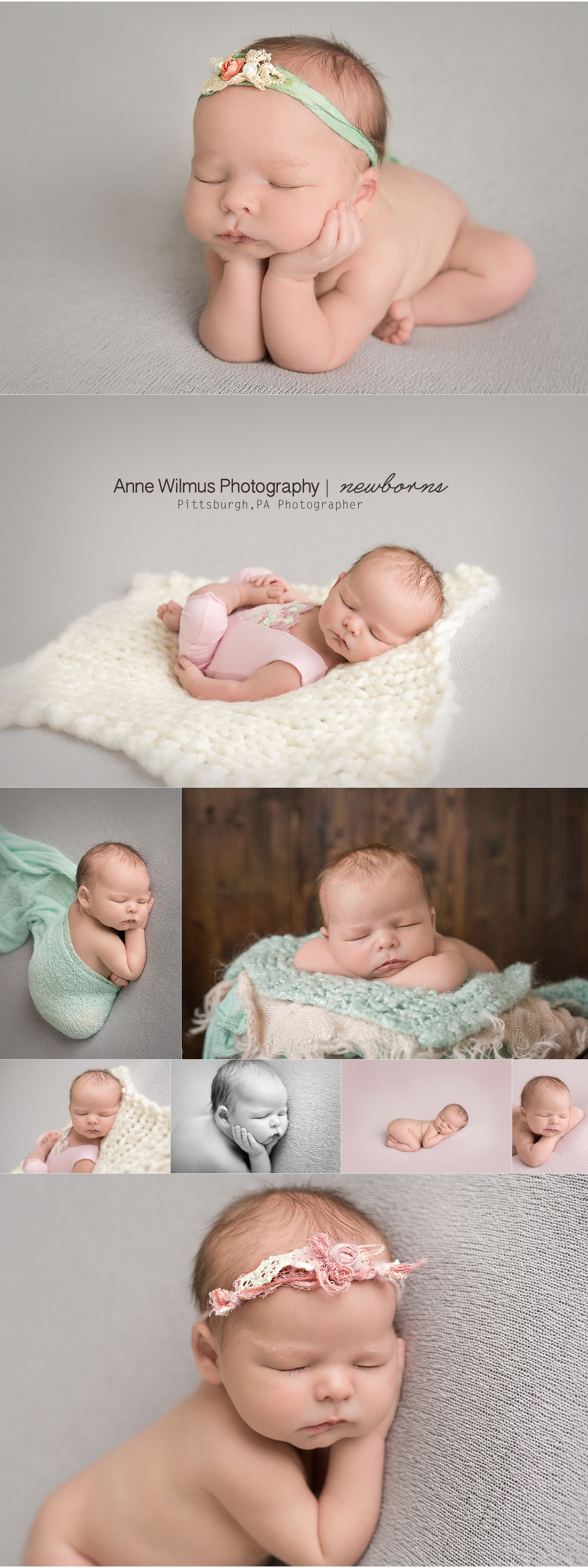 Mint and pink and gray newborn baby photo set-up ideas, Pittsburgh Baby Photographer