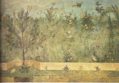 Mural na Villa di Livia, perto de Roma (detalhe), fins do século I, aproximadamente 275 cm de largura.