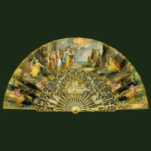 Fan Depicting The Abduction Of Helen - French Sticks And Guards, Italian Vellum Leaf, Gold, Mother-Of-Pearl, Topazes And Diamonds c.1750 - The Royal Collection