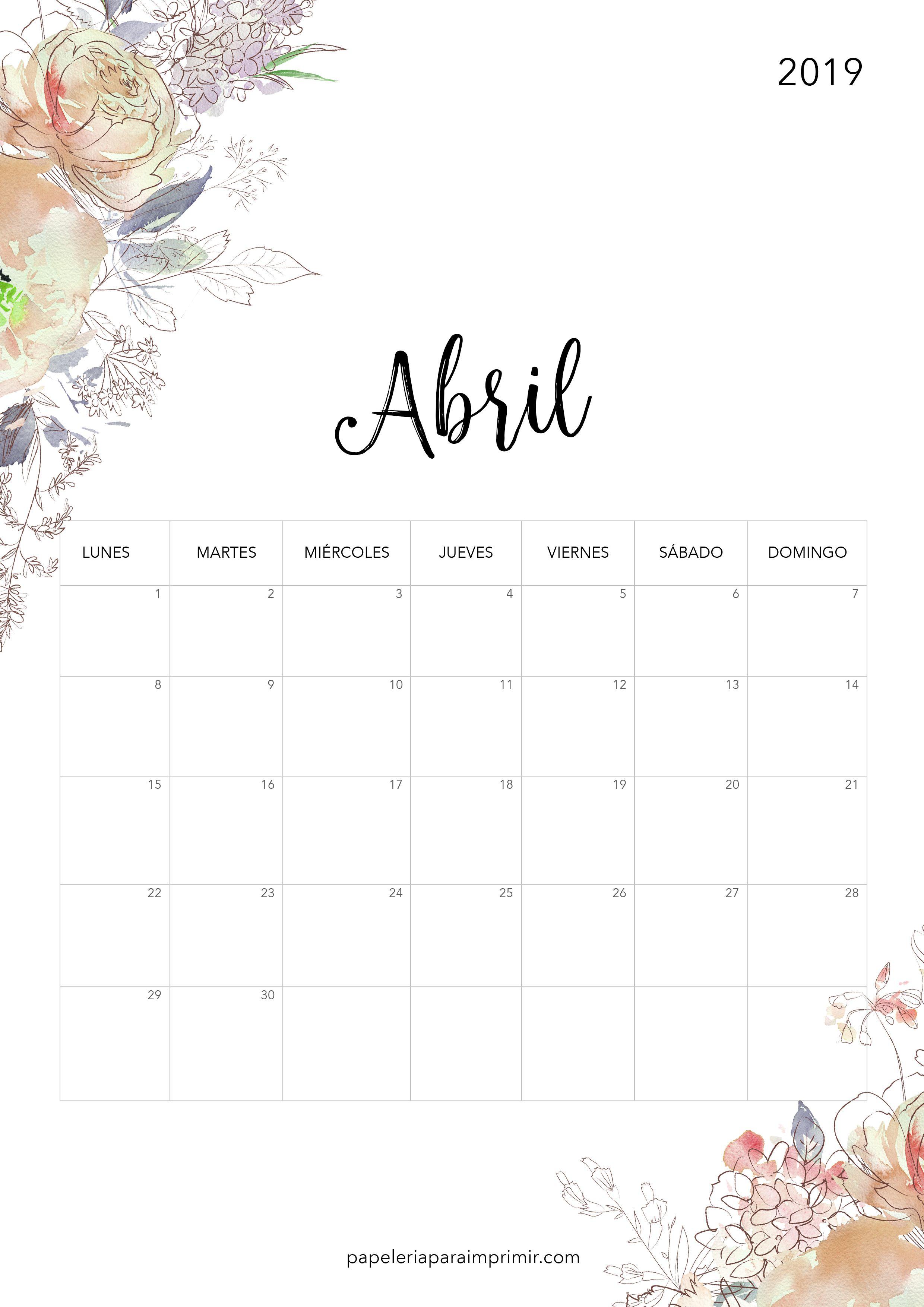 Calendario Imprimir Abril 2019.Calendario Para Imprimir 2019 Abril Calendario Imprimir