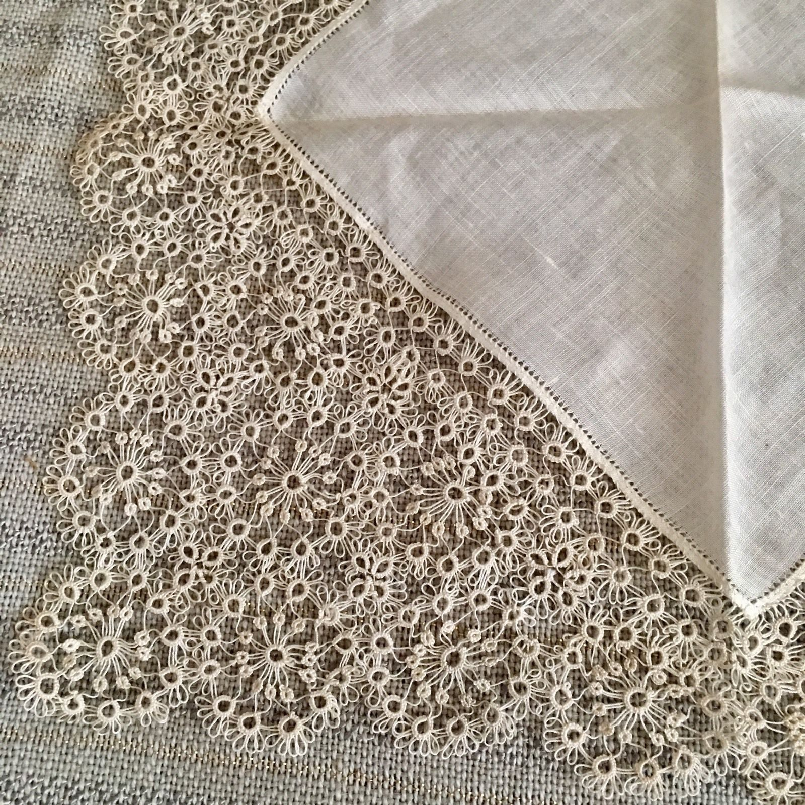 antique tatted fine deep wide lace wedding bridal hanky