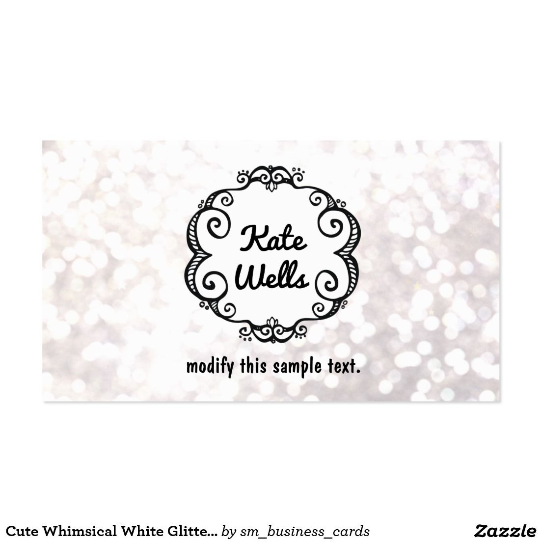 Cute Whimsical White Glitter Bokeh Business Card Great For Fashion