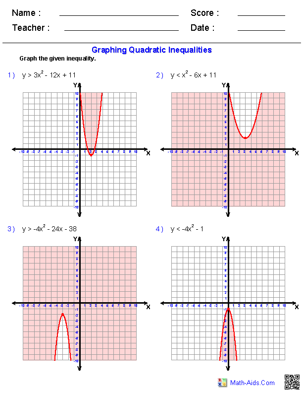 Graphing Quadratic Inequalities Worksheets Math Aids