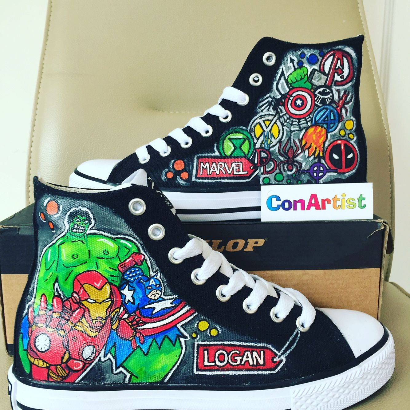 69fc71bab1761b Marvel Superhero Theme Hi tops personalised. Hand Painted by ConArtist  Ireland  hitops  converse  marvel  handpainted  shoes