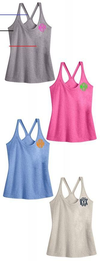 Monogrammed Heathered Summer Tank Top $29.99 from Marleylilly.com #fashion #monogram #preppy #workou...