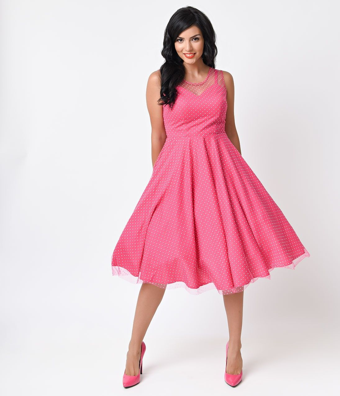 Unique Vintage 1950s Hot Pink Polka Dot High Society Swing Dress ...
