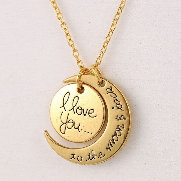 Gold color love you to the moon and back necklace jewelry gold color love you to the moon and back necklace mozeypictures Images