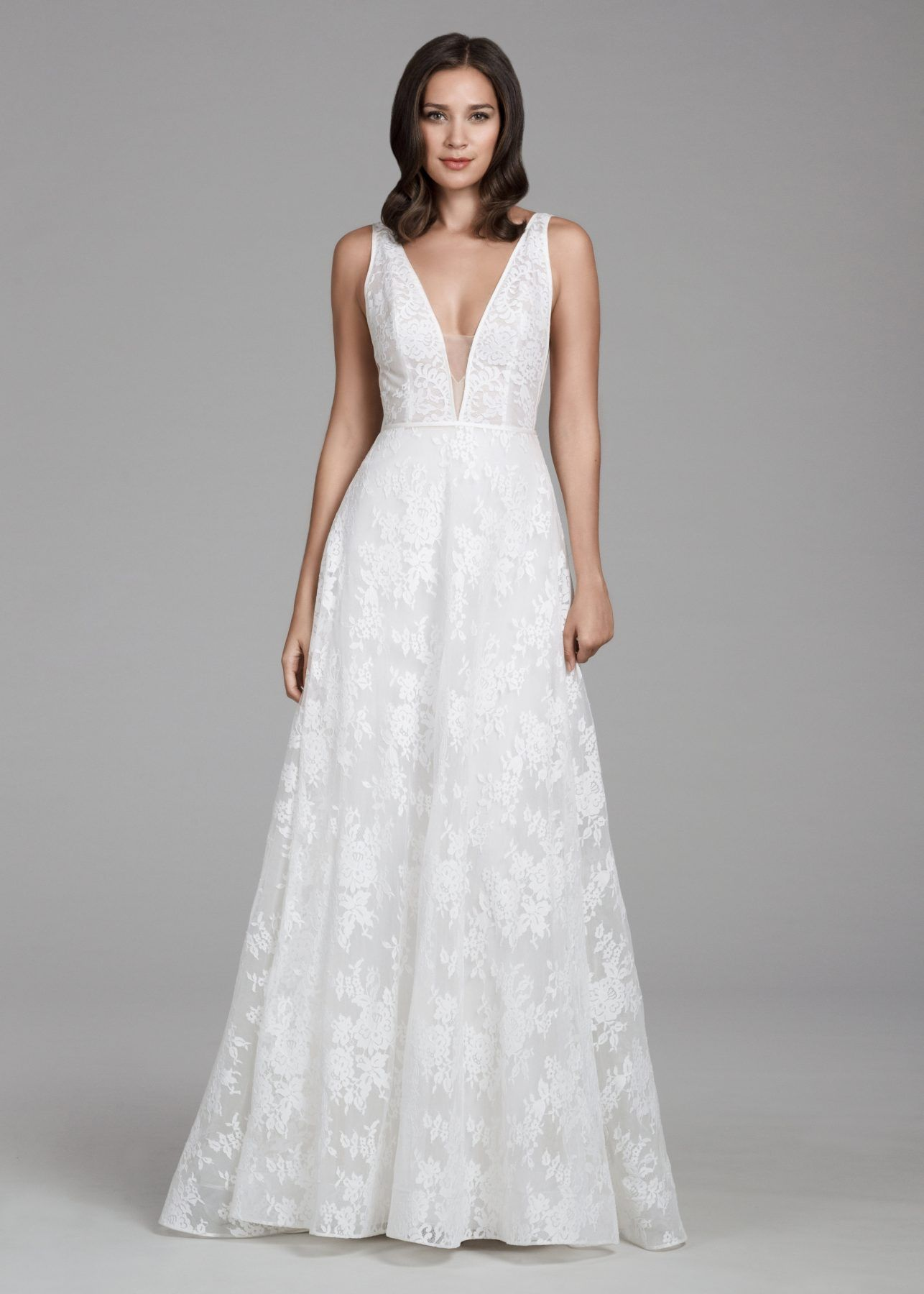 cde2a49d51d2 Romantic Lace V-neck A-line Dress in 2019 | Gowns | Wedding dresses ...