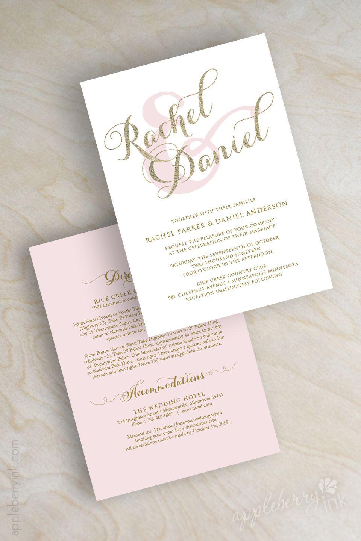 Gold glitter sparkle wedding invitation, pink and gold wedding ...