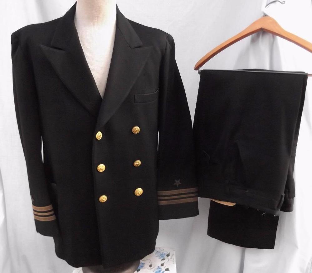 Vintage WWII Uniform 2 Piece Navy Lt. Commander Uniform Suit Black Size 44