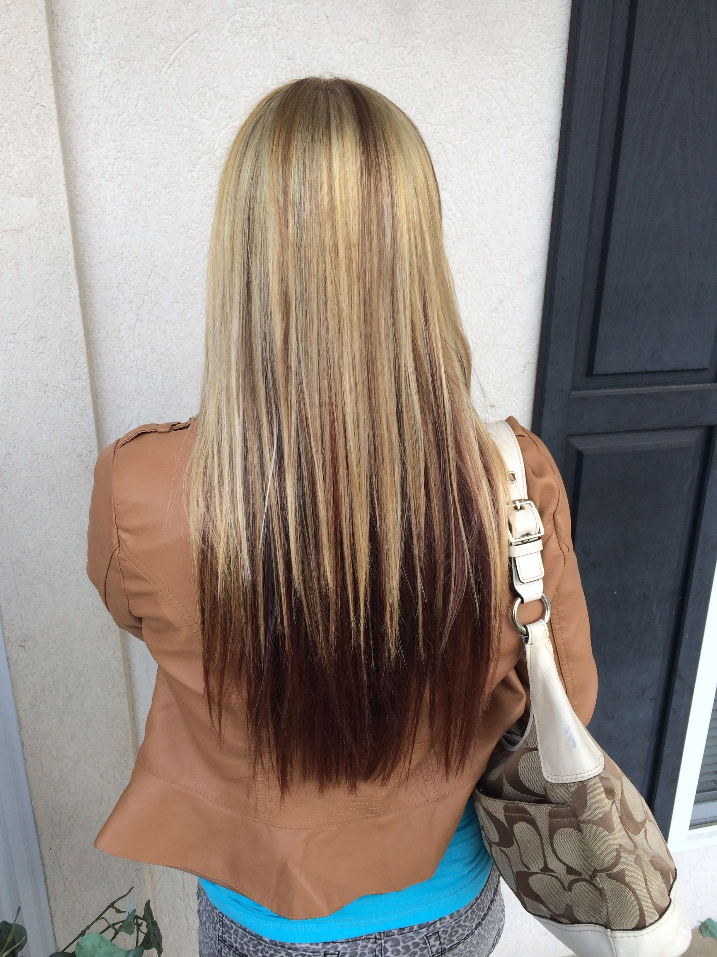 Blonde Top Half With Level 6 Neutral Brown Lowlights And