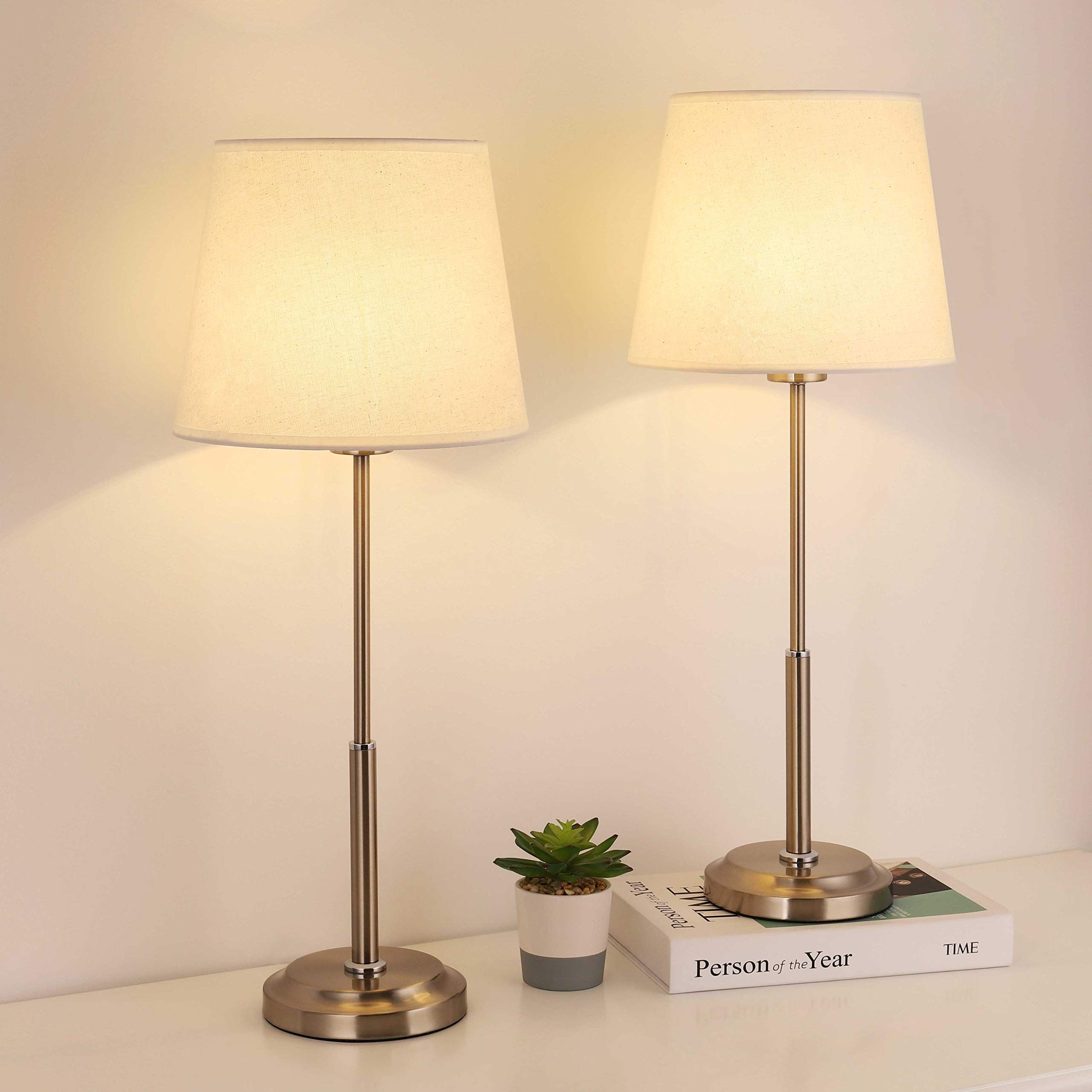 Bedside Table Lamps Set Of 2 Nightstand Desk Lamp Set With Fabric Lampshade And Brushed Nickel Metal Base For Be In 2020 Bedside Table Lamps Table Lamp Sets Table Lamp #table #lamp #sets #living #room