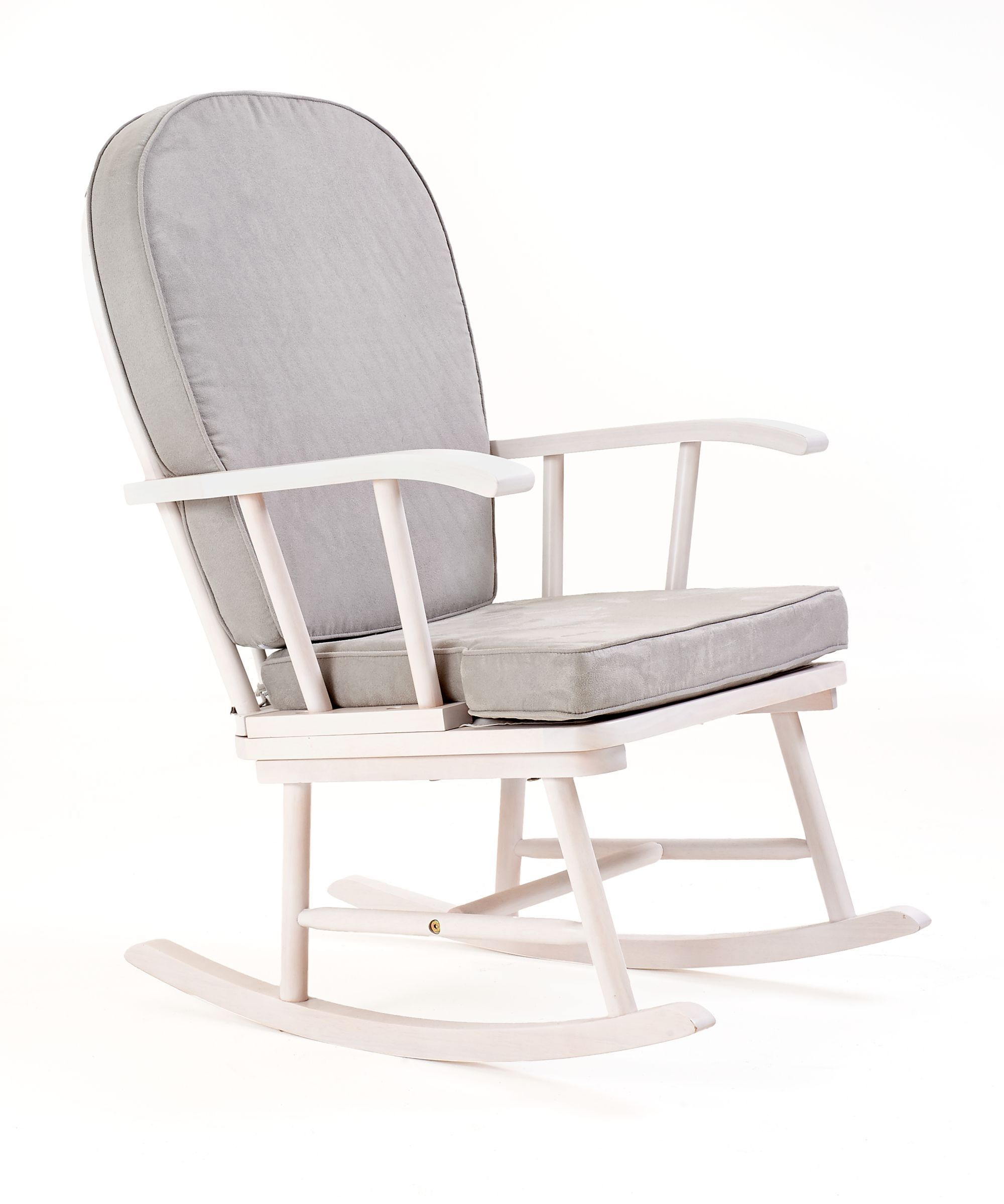Mothercare rocking chair with grey cushion  white  Shh