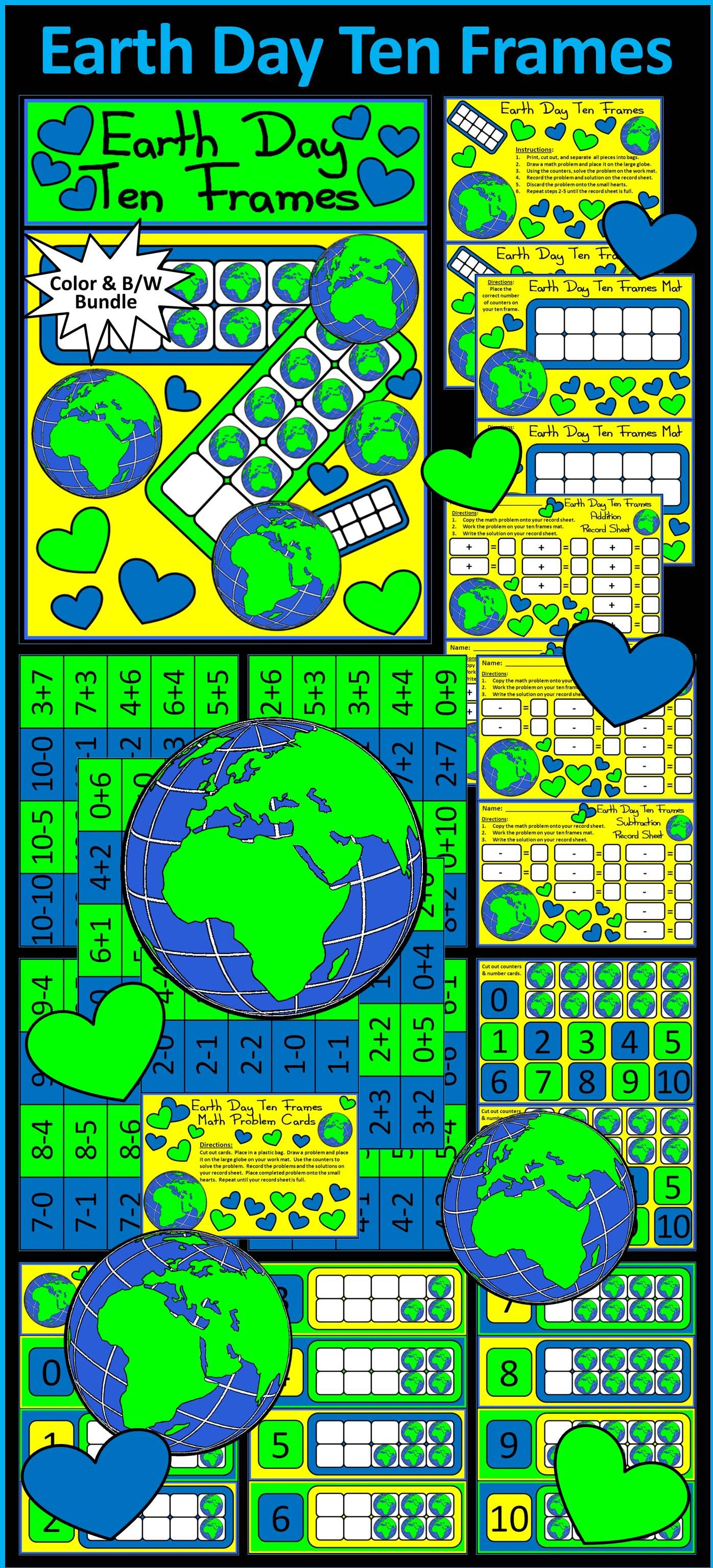 Earth Day Activities Earth Day Ten Frames Math Activity
