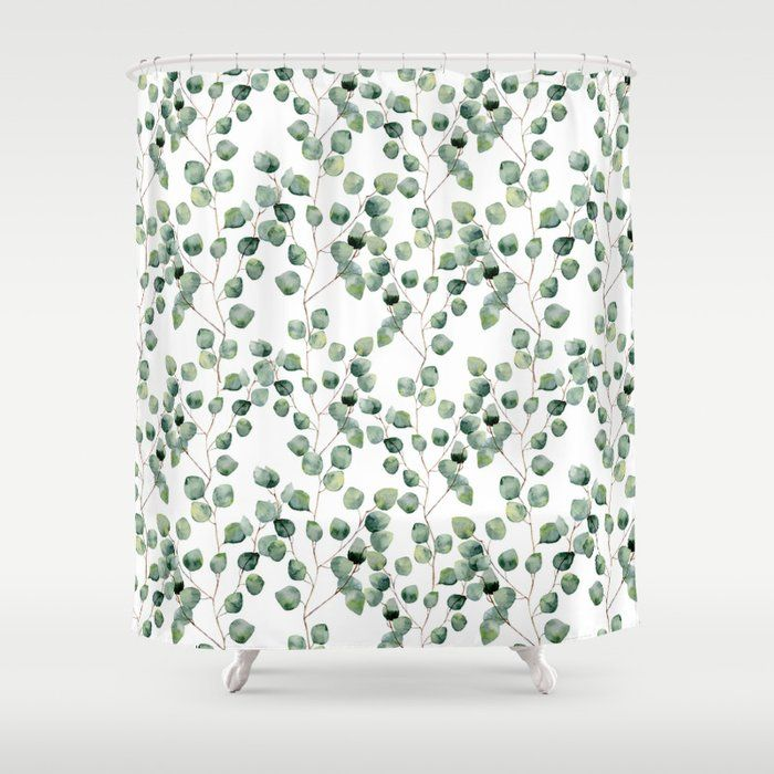 Buy Watercolor Eucalyptus Silver Dollar Shower Curtain By
