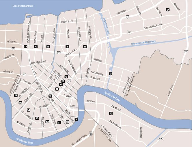 New Orleans Wards overall map | New Orleans | Pinterest