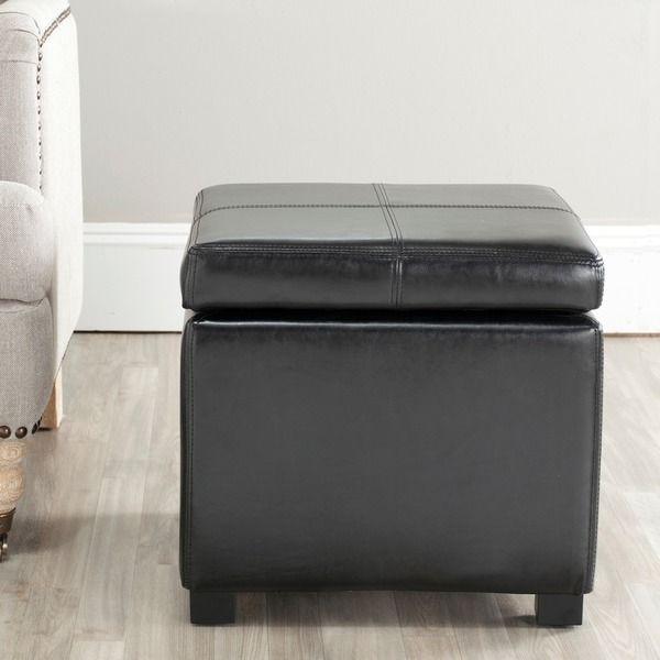 Safavieh Broadway Black Leather Storage Ottoman | Foot stools ...