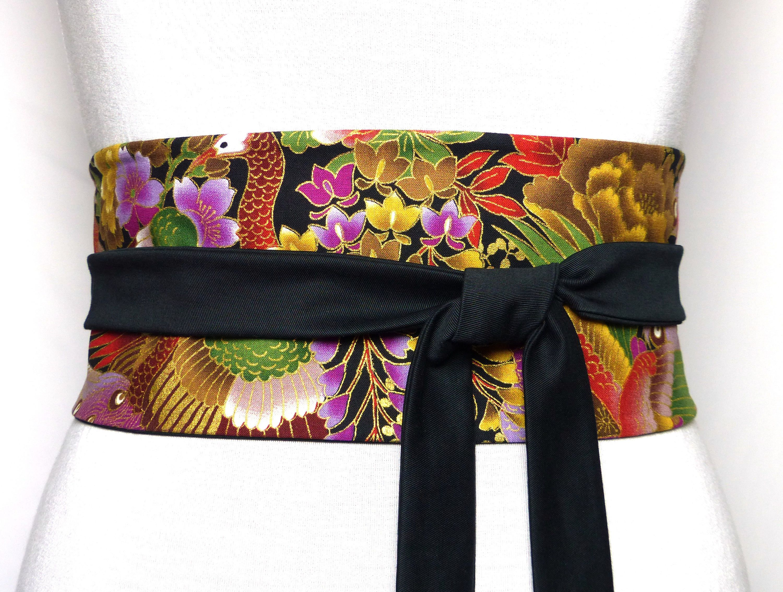 59cba6f24c90 Tissu japonais   Coton Haute Couture, Reversible, ceinture a nouer obi  large Noir Dore Or Rouge Vert Vague oiseau kimono serre-taille fleur de la  boutique ...