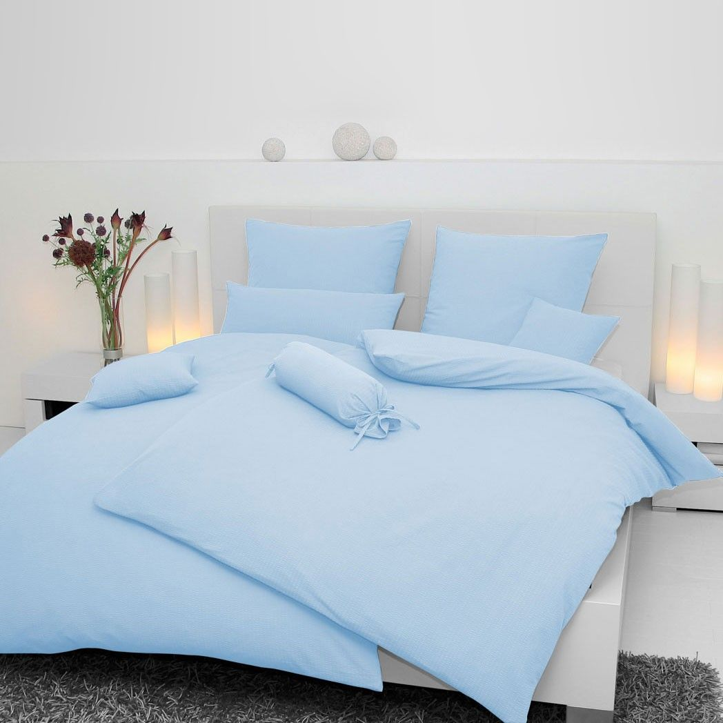janine uni-seersucker bettwäsche in hellblau. die hochwertige soft, Schlafzimmer entwurf