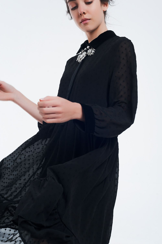 Black Chiffon Dress With Detail In Velvet Online Shopping Clothes Black Chiffon Dress Chiffon Dress [ 1500 x 1000 Pixel ]