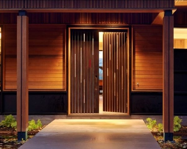 wooden double door modern main house entry front door ideas outdoor lighting - Front Door Designs For Homes