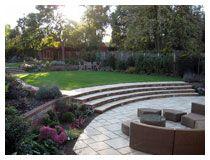 Large Sheltered Sunken Patio With Views Of The Upper Garden. Harpenden  Garden Design In Autumn
