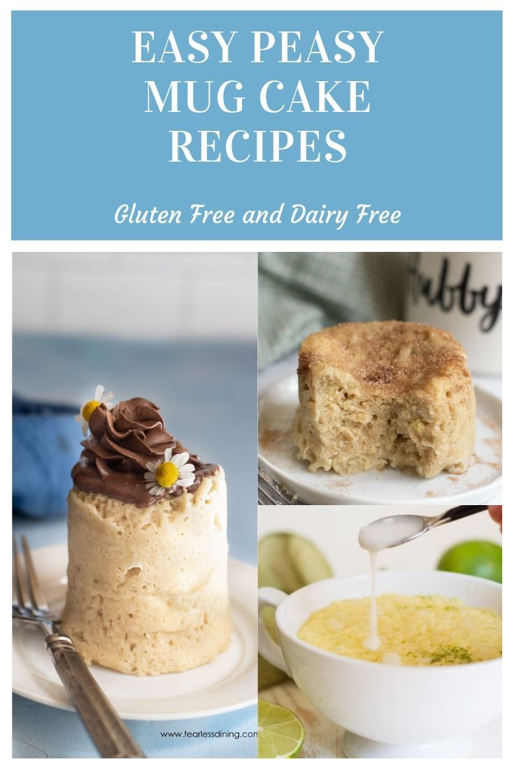 5 Easy Gluten-Free Mug Cake Recipes Here are 5 deliciously easy gluten free and dairy free mug cake recipes that you can make in your microwave in under 3 minutes. Mug cakes are perfect for those hot summer days.