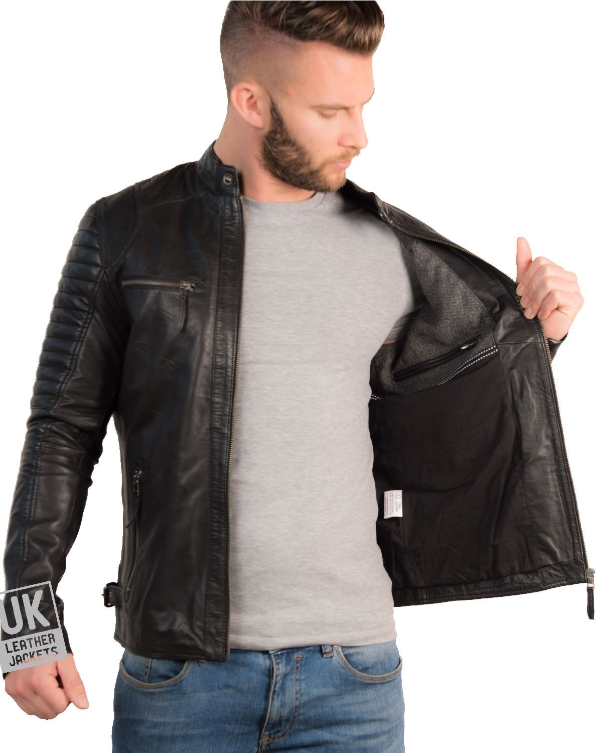 Mens Black Leather Biker Jacket UK LJ Black leather