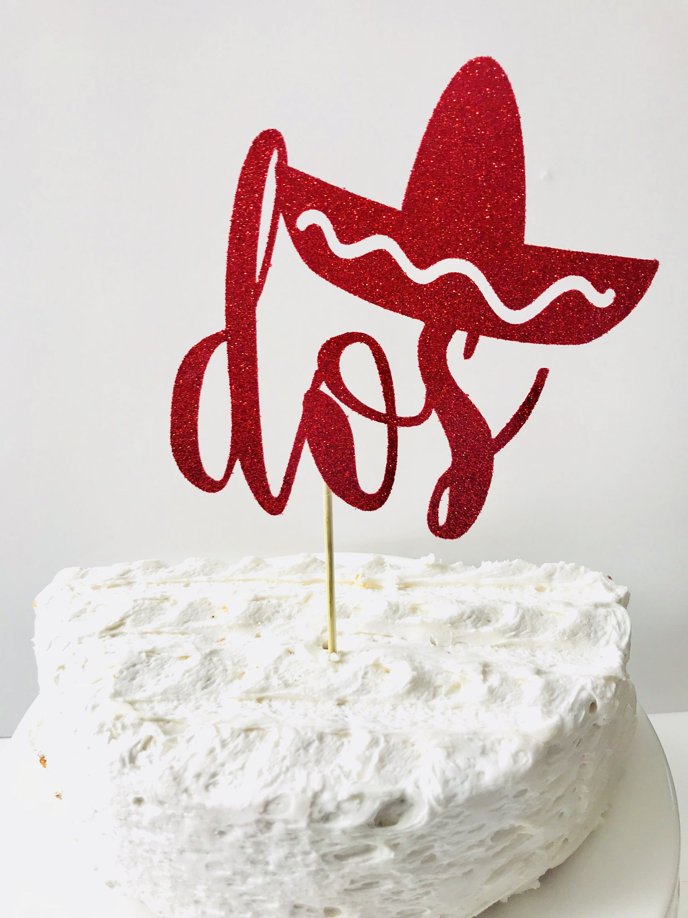 Dos Glitter Age Cake Topper Second Birthday Cake Topper Taco