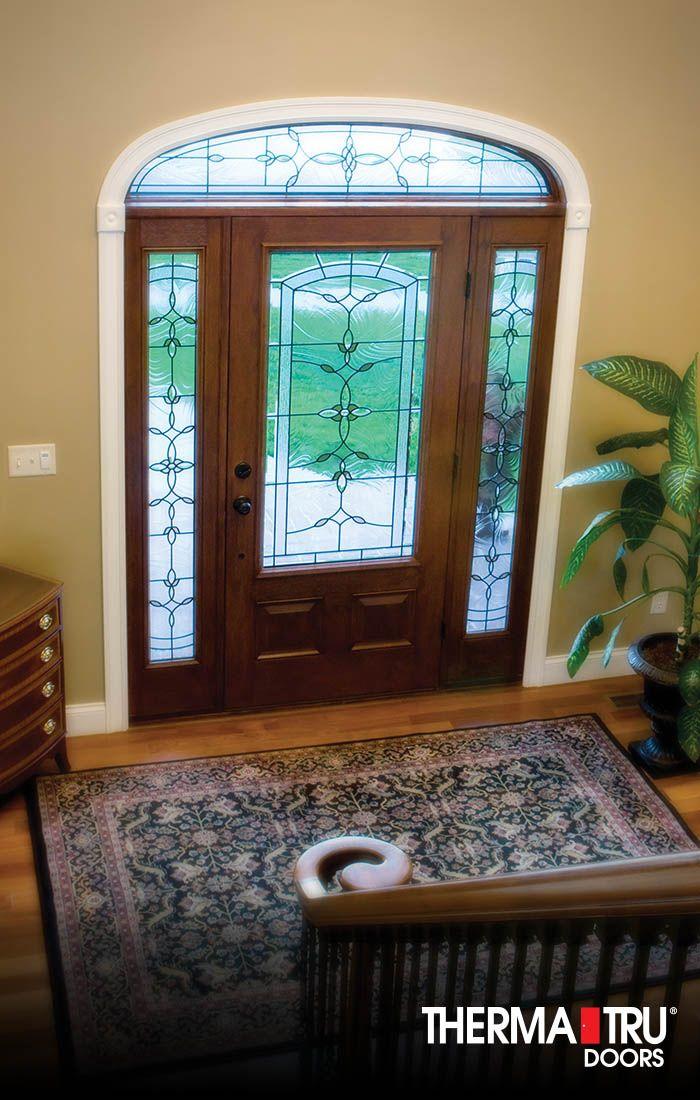 Therma Tru Classic Craft Mahogany Collection Fiberglass Door With Bella  Decorative Glass.