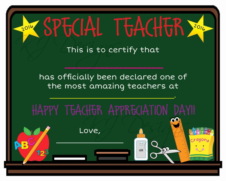 Teacher Appreciation Awards Printable Lovely Teacher Appreciation Certificate Print Teacher T Teacher Teacher Awards Award Template Teacher Appreciation Certificate of authenticity sports memorabilia template